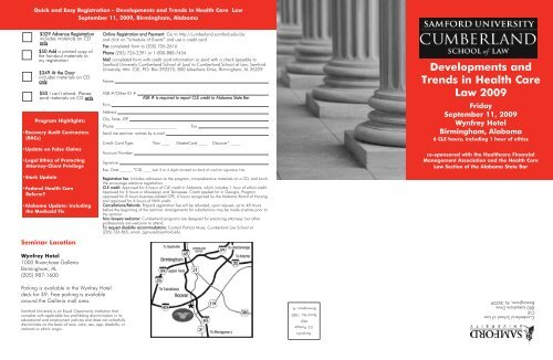 2009 HealthLawtemplate.qxd (Page 1) - Cumberland School of Law ...