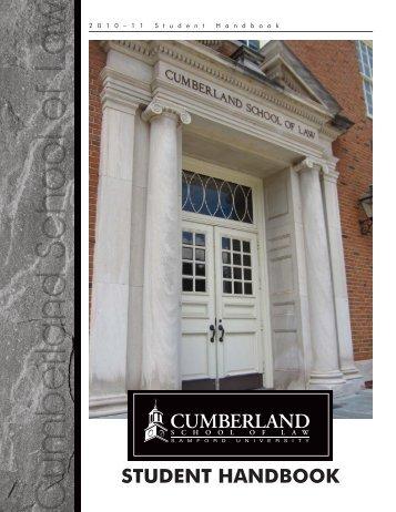 2010-2011 Student Handbook - Cumberland School of Law ...