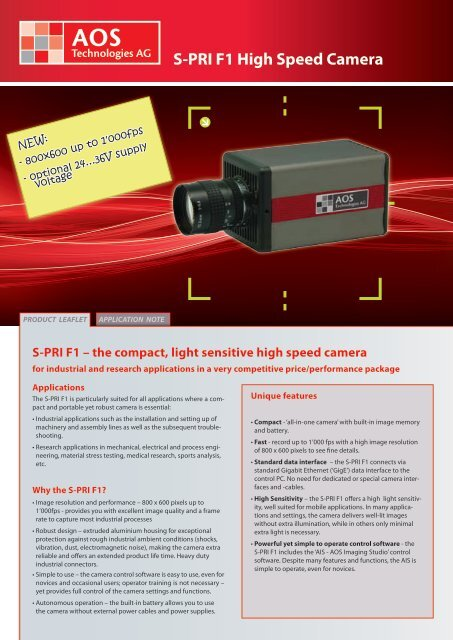 S-PRI F1 High Speed Camera - AOS Technologies AG