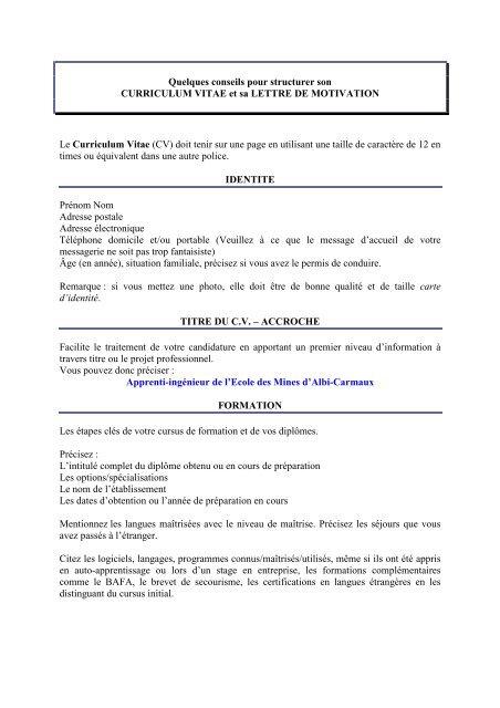 Conseils Pour Cv Et Lm Pdf Enstimac Fr