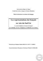 Les représentations du français en Asie du Sud - Université du Maine