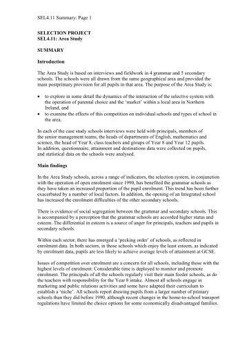 Area Study. - UNESCO Centre - University of Ulster