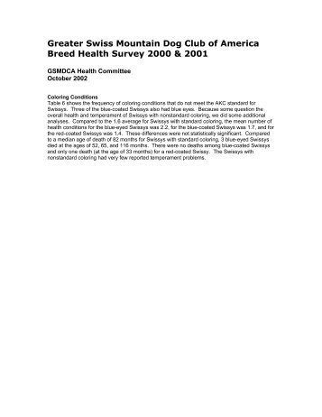 2001 Health survey results Part 2 - Greater Swiss Mountain Dog ...