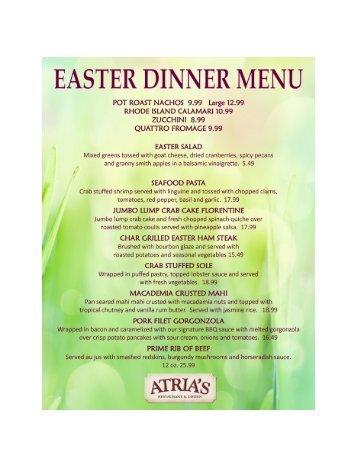 Easter dinner menu atria 39 s restaurant and tavern for Easter brunch restaurant menus