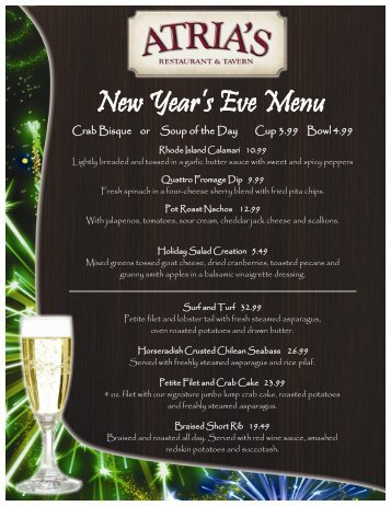 New Year's Eve Menu