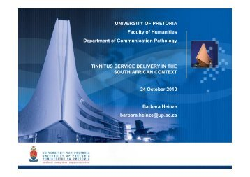 Tinnitus service delivery in the SA context (Barbara ... - ENT Society