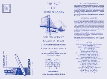 THE ART OF RHINOPLASTY – COuRSE ObjECTIvES - ENT Society