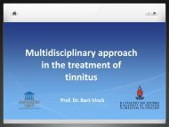 Multidisciplinary approach in the treatment of tinnitus - ENT Society