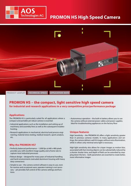 PROMON HS High Speed Camera - AOS Technologies AG