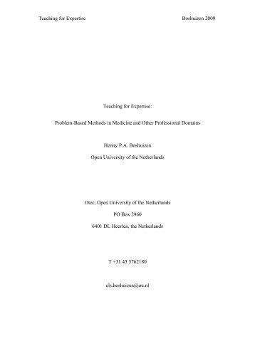 Teaching for Expertise: Problem-Based Methods in Medicine