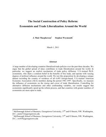 Economists and Trade Liberalization Around the World - Faculty ...
