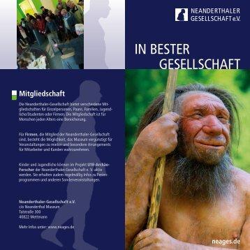 """Infoflyer """"In bester Gesellschaft"""" - Neanderthaler Gesellschaft"""