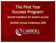 The First Year Success Program - AACRAO