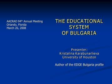 Educational System in Bulgaria - AACRAO