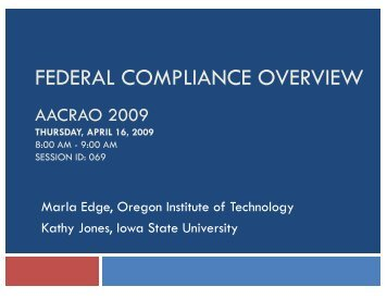 FEDERAL COMPLIANCE OVERVIEW - AACRAO