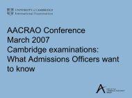 Cambridge Examinations - AACRAO