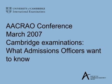 Cambridge Examinations - AACRAO