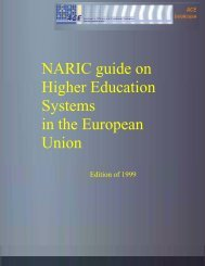 NARIC guide on Higher Education Systems in the European Union