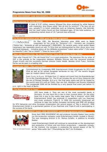 Programme News from May 30, 2006 MME MOVIEMENT HAS ...