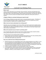 FACT SHEET Lead and Your Drinking Water