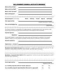 KCI STUDENT COUNCIL ACTIVITY REQUEST