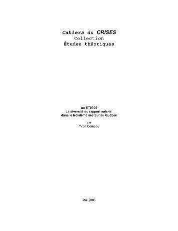 Cahiers du CRISES