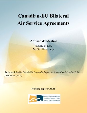 Canadian-EU Bilateral Air Service Agreements - Dépôt de documents