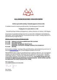 Indkaldelse med endelig dagsorden - Kalundborgegnens Erhvervsråd
