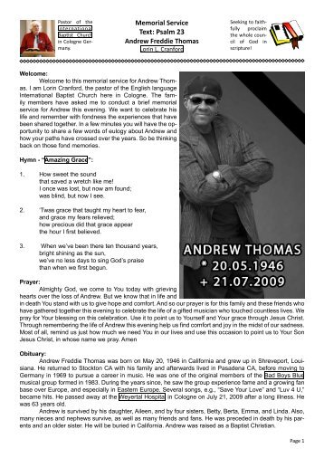 Memorial Service for Andrew Freddie Thomas - Lorin