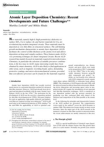 Atomic Layer Deposition Chemistry: Recent Developments and ...