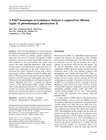A Psb27 homologue in Arabidopsis thaliana is required for efficient ...