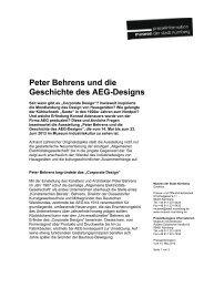 Peter Behrens und die Geschichte des AEG-Designs - Museen der ...
