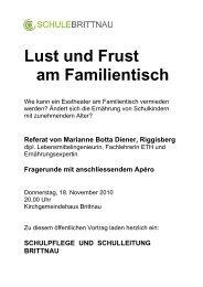 Flyer Lust und Frust am Familientisch - Schule Brittnau