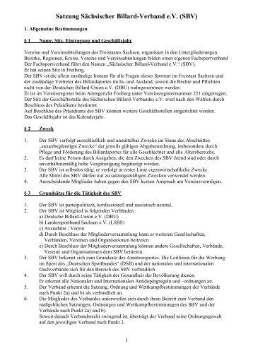 Satzung des SBV - BillardArea - Deutsche Billard Union