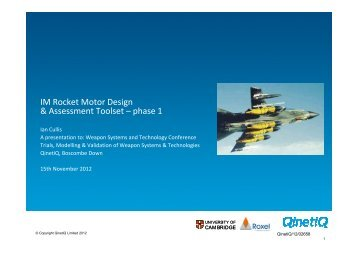 7) IM Rocket Motor Design & Assessment Toolset - Phase 1