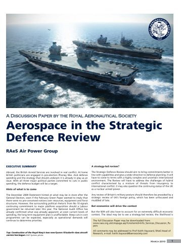 Aerospace in the Strategic Defence Review - Royal Aeronautical ...