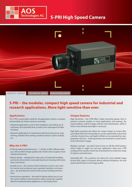S-PRI High Speed Camera - AOS Technologies AG