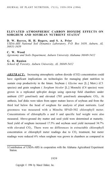 Elevated Atmospheric Carbon Dioxide Effects on Sorghum and ...