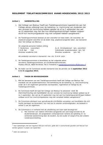 Reglement Toelatingscommissie - Studentinfo - Avans Hogeschool