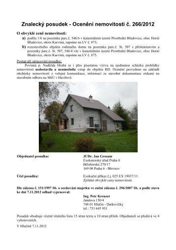 Znalecký posudek - Ocenění nemovitosti č. 266/2012 - Sreality.cz