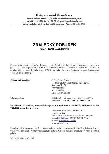 ZNALECKÝ POSUDEK číslo: 6298-2444/2012 - Sreality.cz