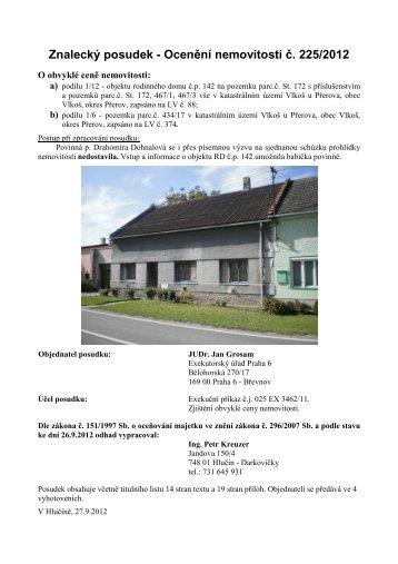 Znalecký posudek - Ocenění nemovitosti č. 225/2012 - Sreality.cz