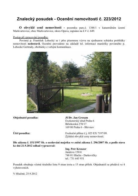 Znalecký posudek - Ocenění nemovitosti č. 223/2012 - Sreality.cz