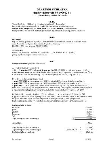 DRAŽEBNÍ VYHLÁŠKA dražby dobrovolné č. 190912 011 - Sreality.cz