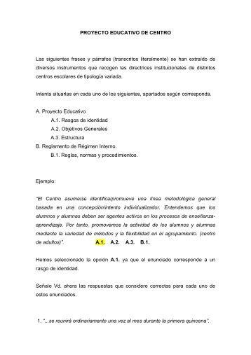 Proyecto educativo y reglamento de régimen interno
