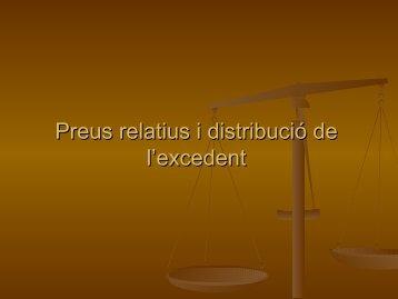 Preus relatius i distribució de l'excedent - Inici