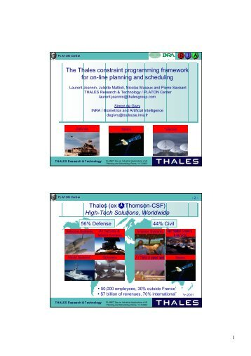The Thales constraint programming framework for on-line planning ...