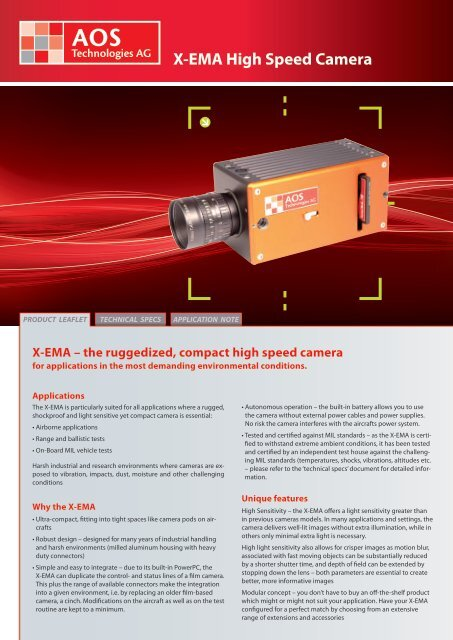 X-EMA High Speed Camera - AOS Technologies AG