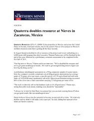 Quaterra doubles resource at Nieves in Zacatecas, Mexico