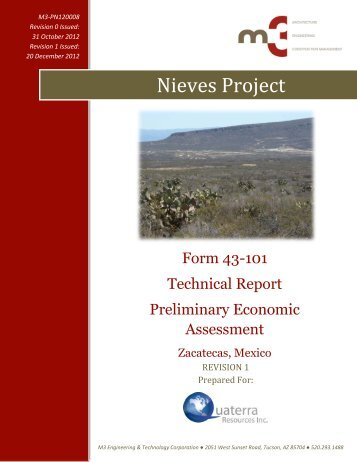 Nieves Project - Quaterra Resources Inc